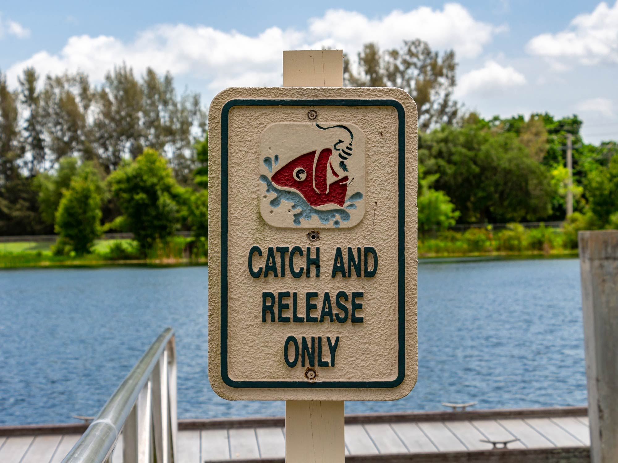 Catch and Release sign on a canal dock