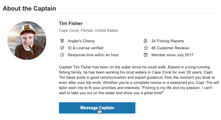 An example of a captain's profile on FishingBooker, with a button to contact the captain before you choose a fishing charter