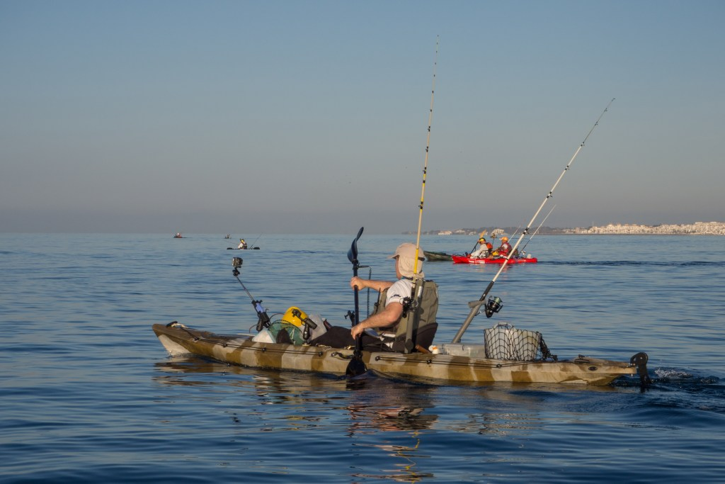A kayak angler fishing near Dana Point, CA