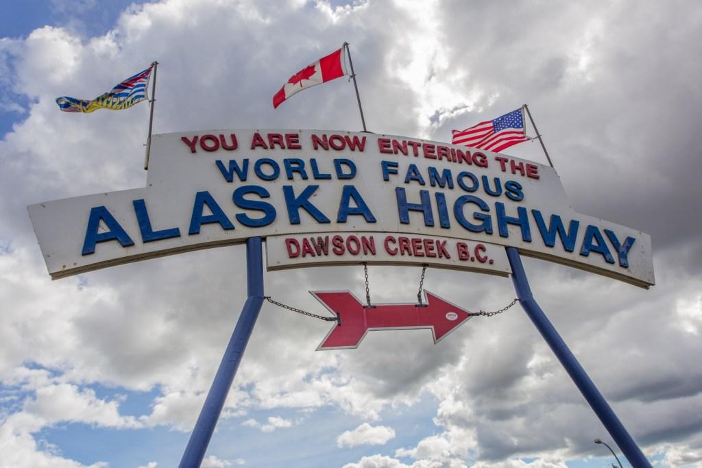Dawson Creek Mile Marker, the starting point of an Alaska Highway fishing trip