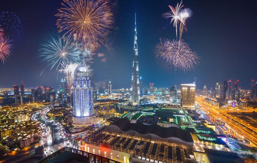 an aerial view of Dubai fireworks
