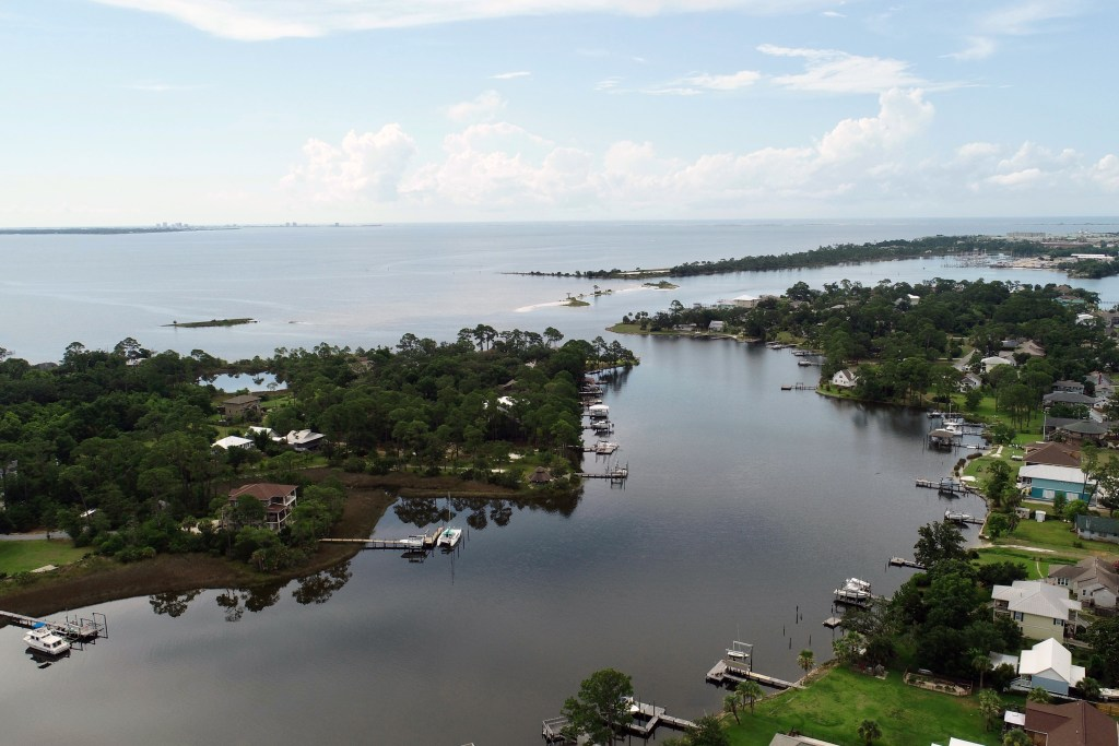 An aerial view of the upper Escambia Bay near Pensacola, FL