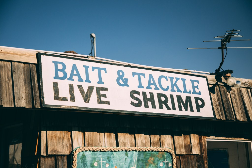 "A sign on a wooden shack reading ""Bait & Tackle. Live Shrimp."" Tackle shops like this are a common place to buy a Florida fishing license"