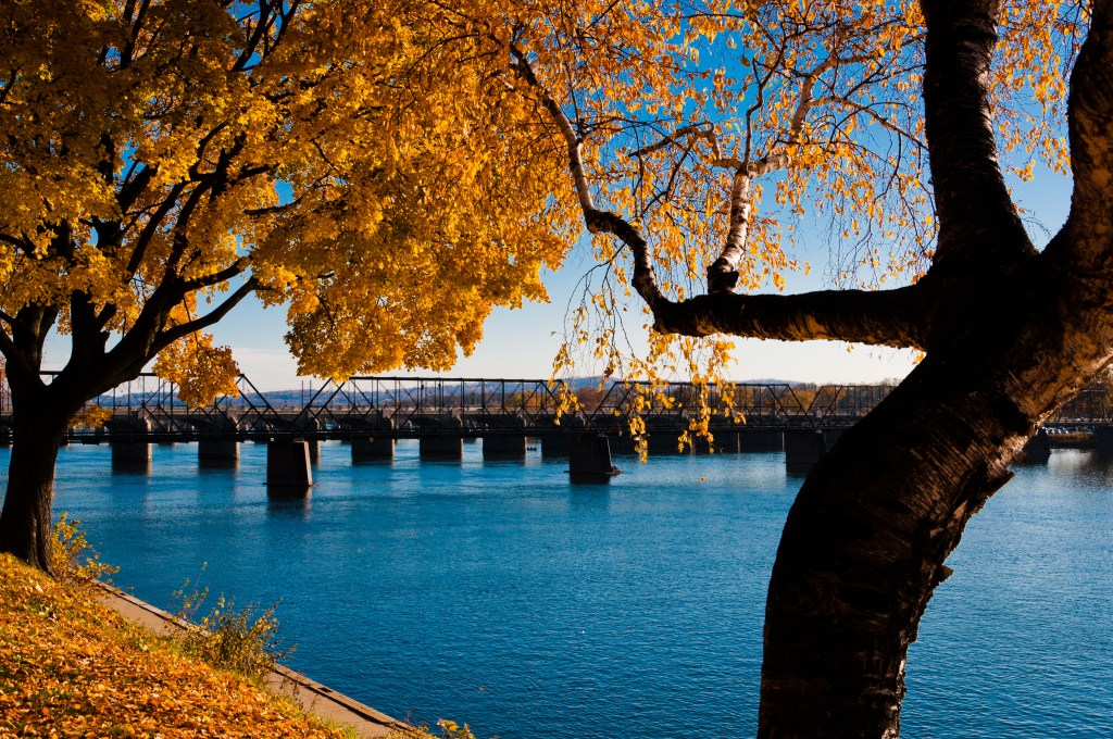 A beautiful view of Susquehanna River from Harrisburg riverfront