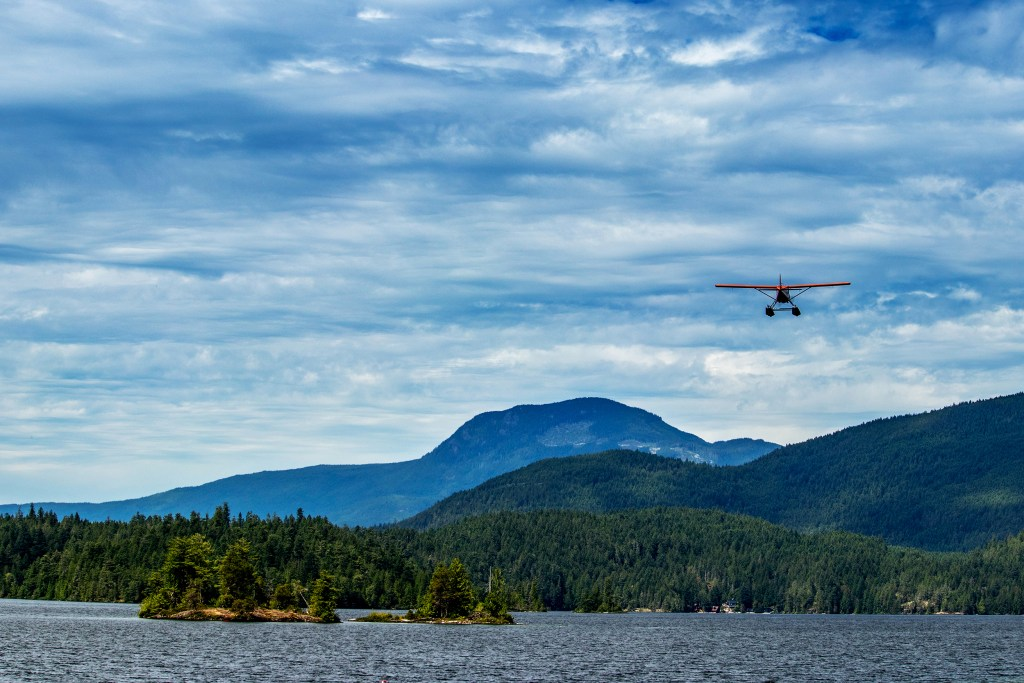 A float plane arriving for a fly-in fishing trip in Alaska