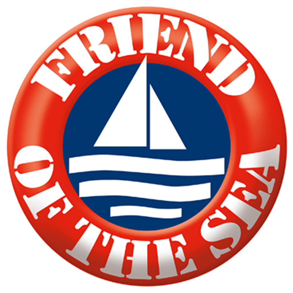 The logo of Friends of the Sea, an organization which accredits farmed and wild-caught fish as sustainable.
