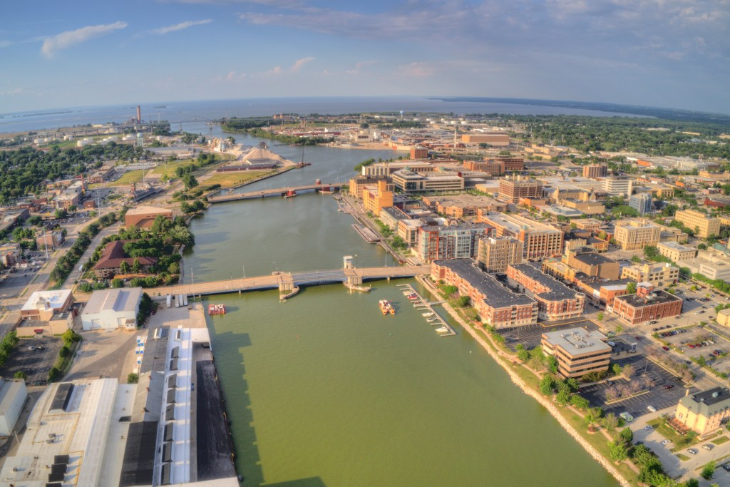 An aerial view of Green Bay, Wisconsin