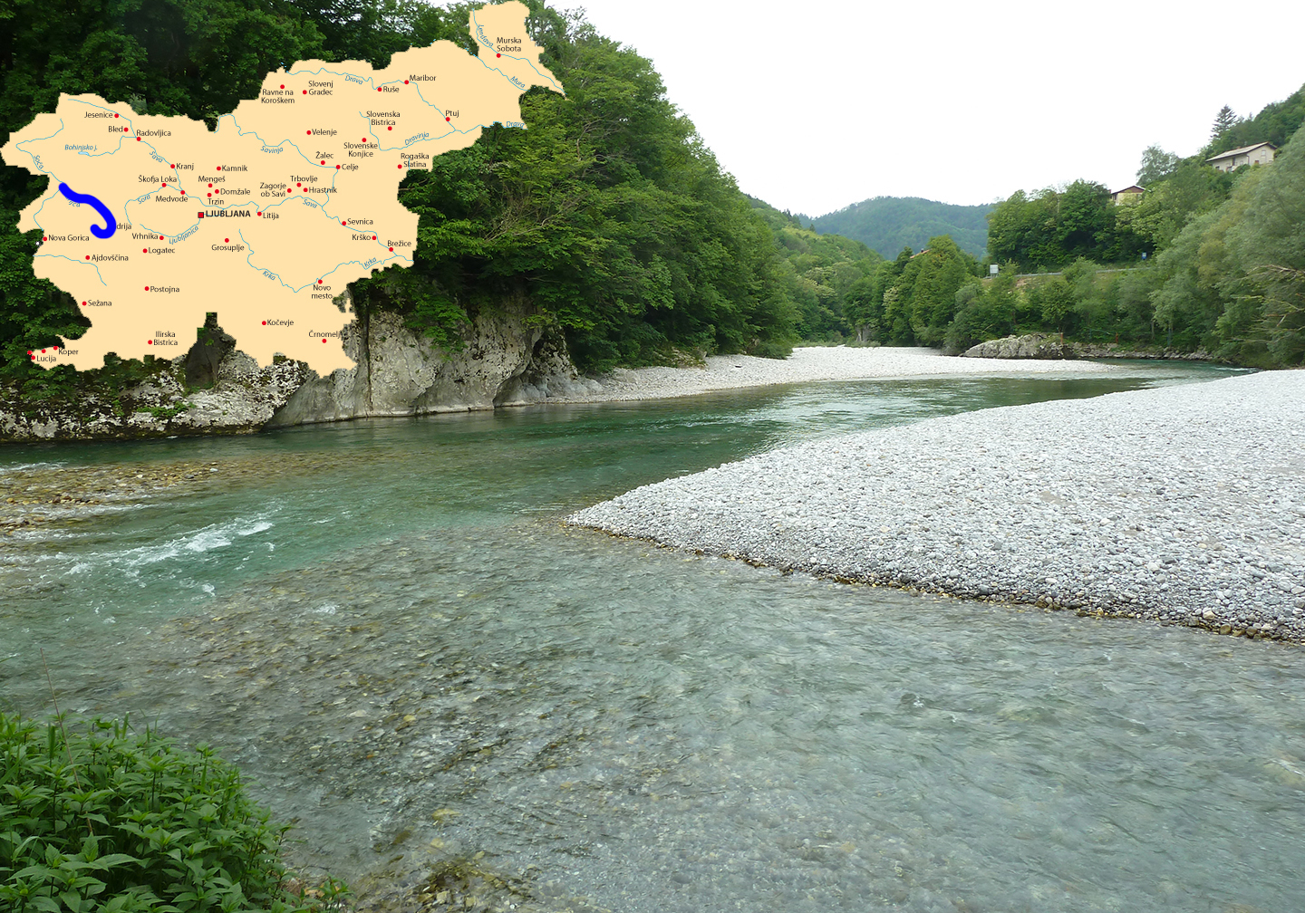 The Idrijca River, one of the best places for fly fishing in Slovenia, with a map of Slovenia superimposed in the top left