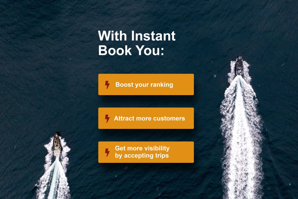 Benefits of instant book on background with boats