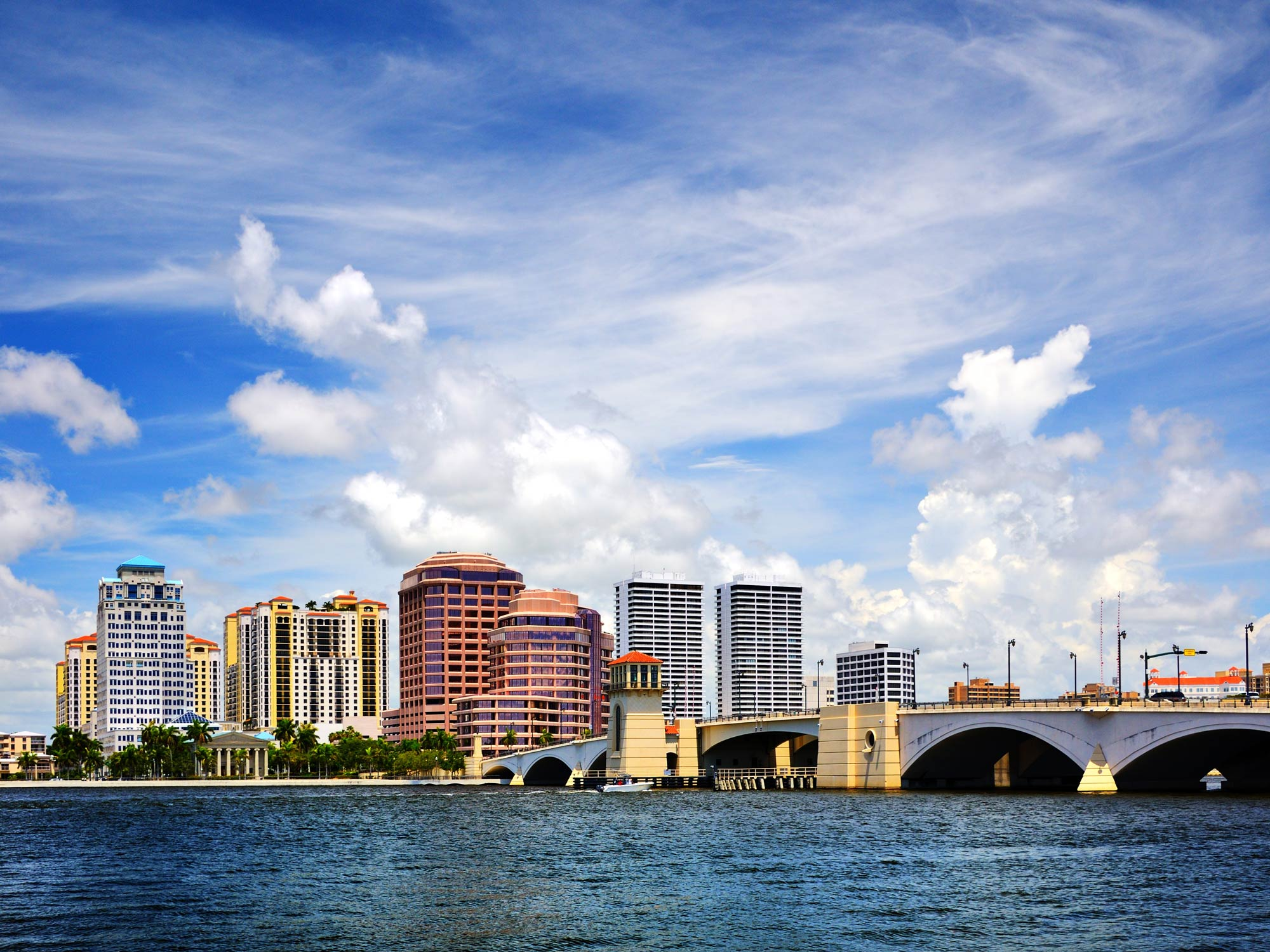 West Palm Beach skyline, shot from the water during the day