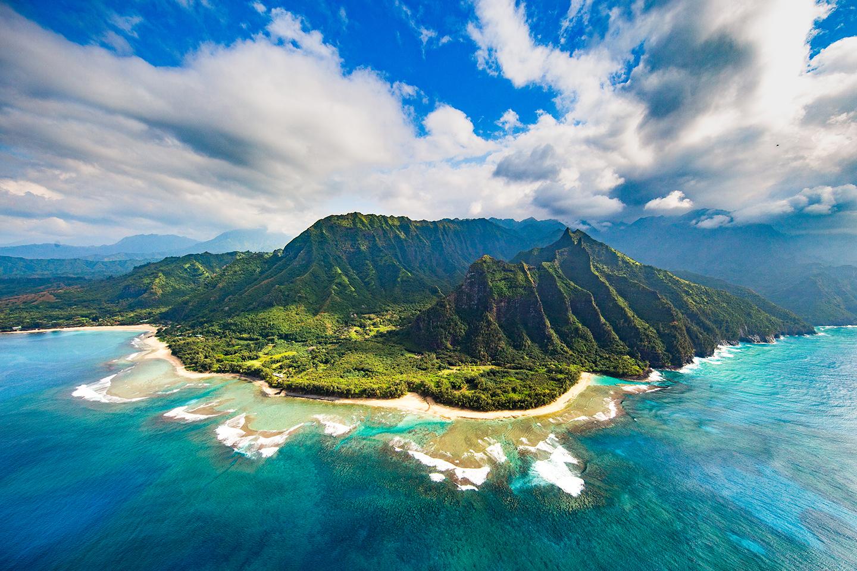 An aerial view of the Hawaiian island of Kauai, known as the Garden Isle.