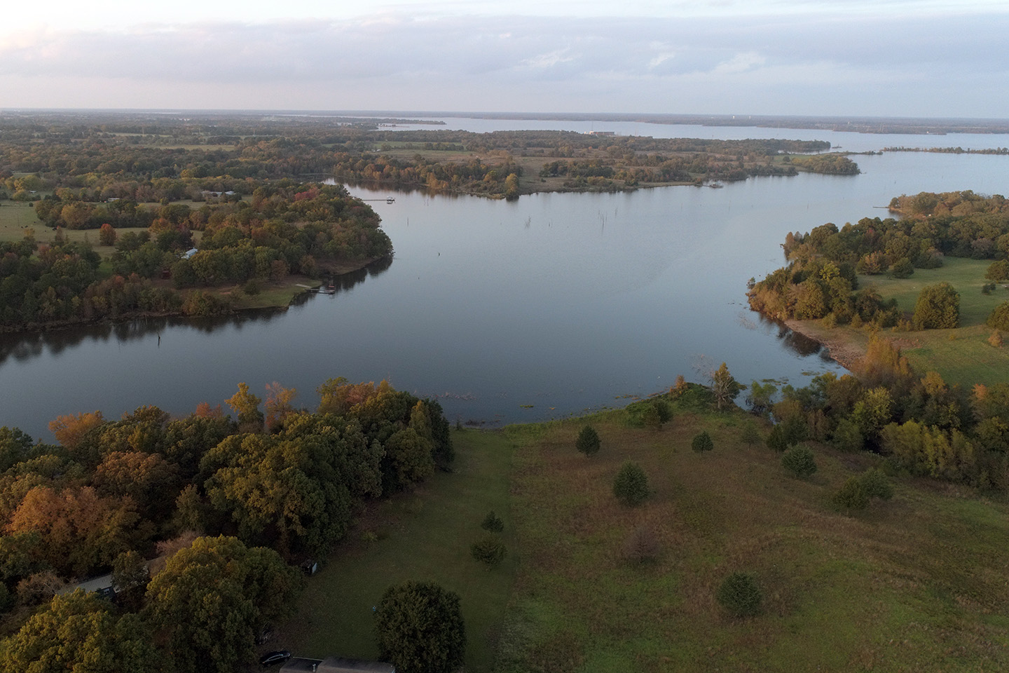 An aerial view of Lake Fork, TX