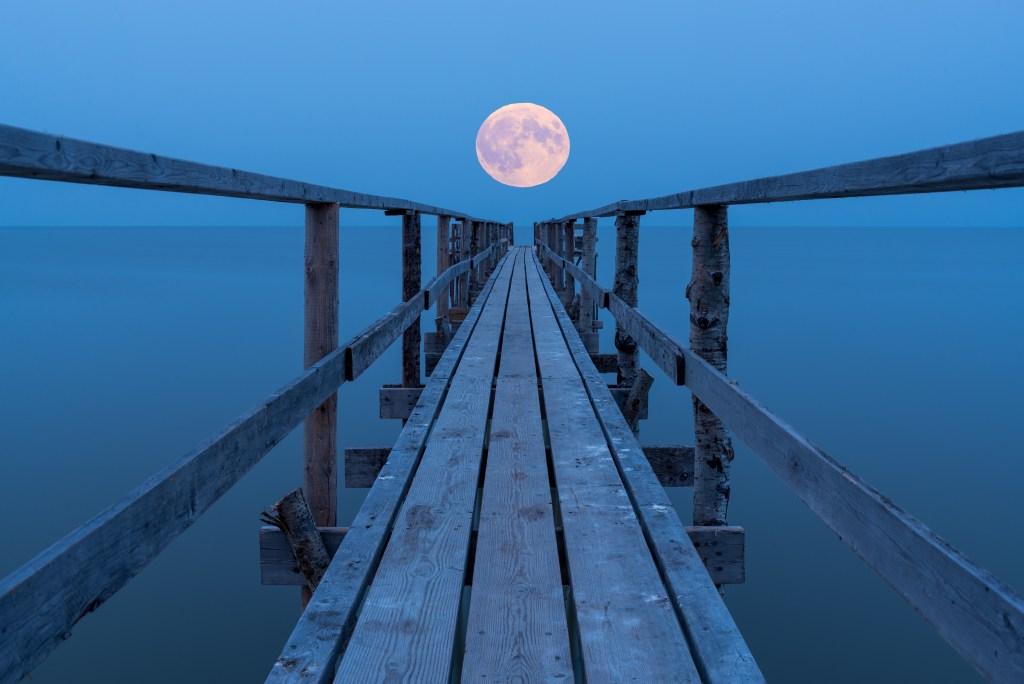 a full moon on Lake Winnipeg, Manitoba