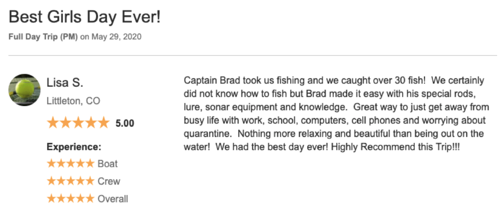 a review left for a fishing charter in Colorado describing how the outing was a great way to get away from stress and covid-19 quarantine