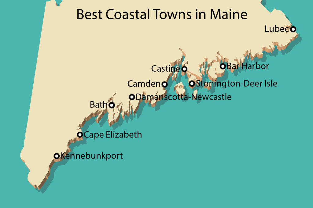 A map of maine coastal towns, from Kennebunkport in the west to Lubec in the east.