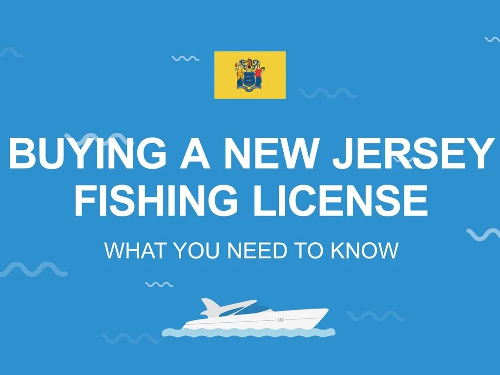 """An infographic with the New Jersey state flag and the text """"Buying a New Jersey fishing license"""""""