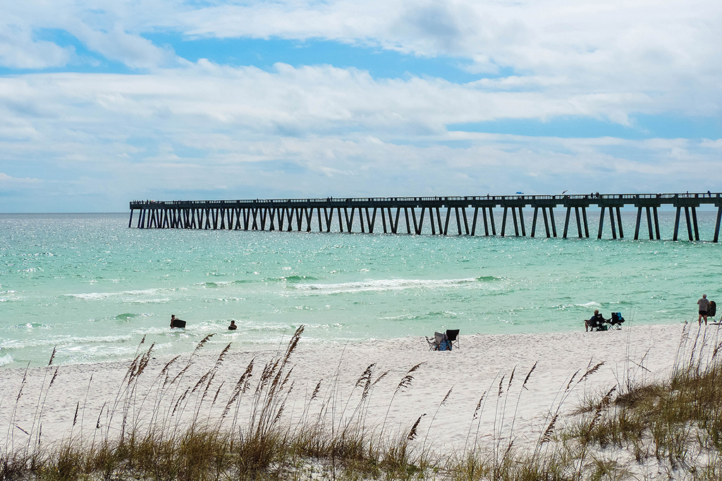A coastal scene in Navarre, FL. Sea and grass are in the foreground, and you can see Navarre Beach fishing pier in the distance