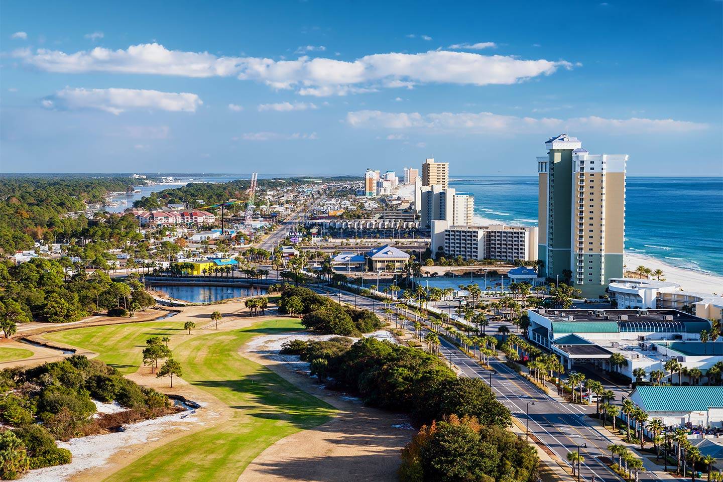 An aerial view of downtown Panama City Beach with the Gulf of Mexico on the right-hand side