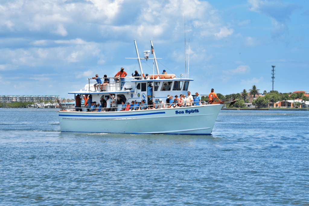 A party fishing boat in Ponce Inlet