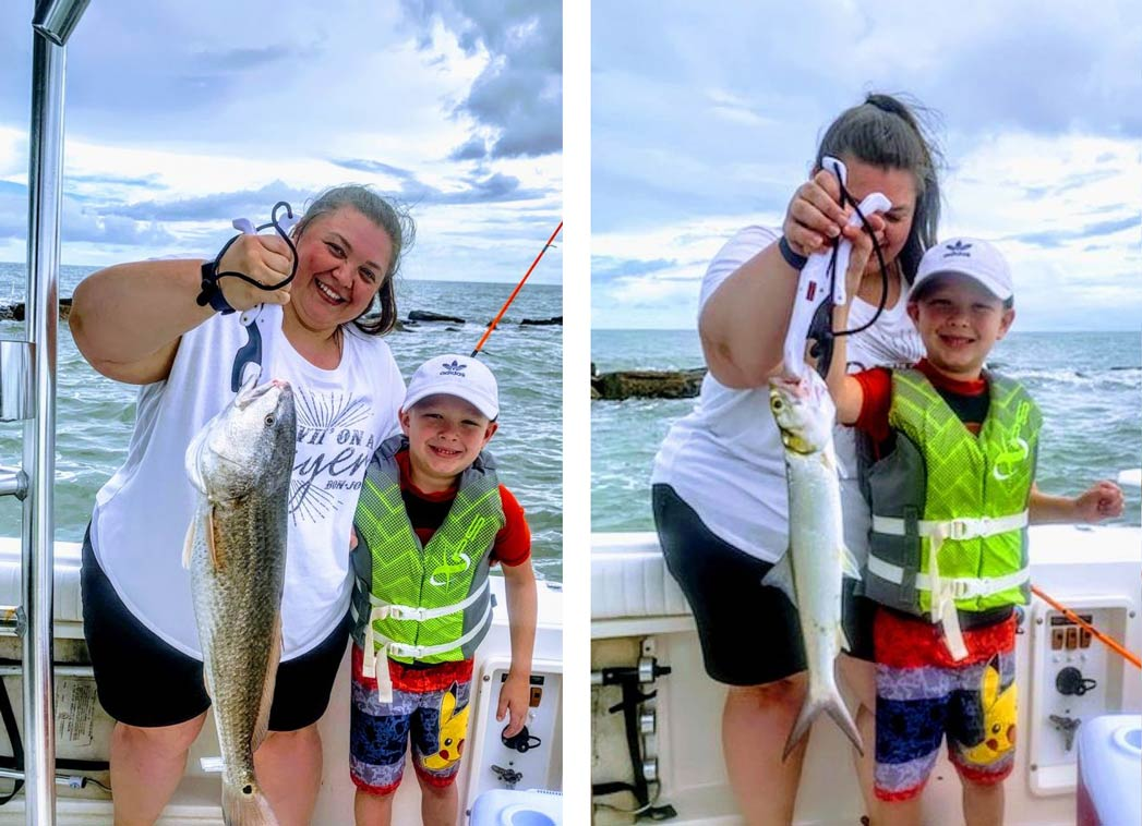 A collage of two images that show a mother and her son holding two large fish and smiling on board Captain Bubba's Charters