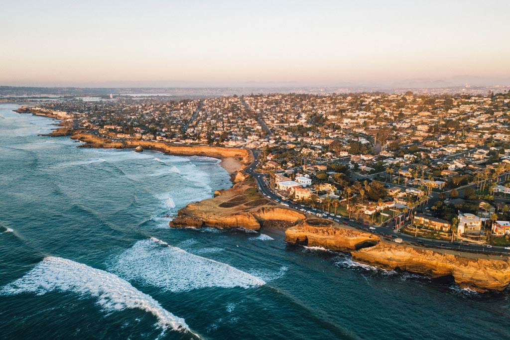 An aerial view of the Pacific Ocean and San Diego's coastline.