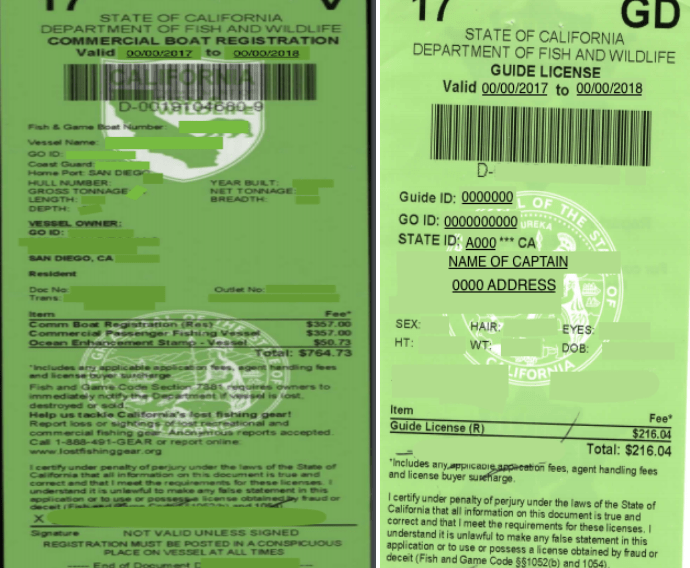 A California guide license and commercial boat registration, two of the documents needed to become a fishing guide in California.