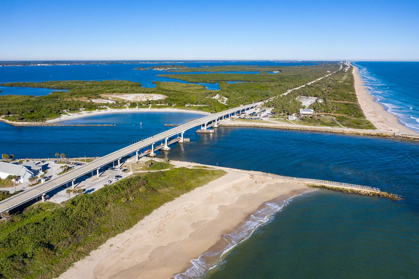 An aerial view showing the Sebastian Inlet and how it divides the Atlantic and Indian River