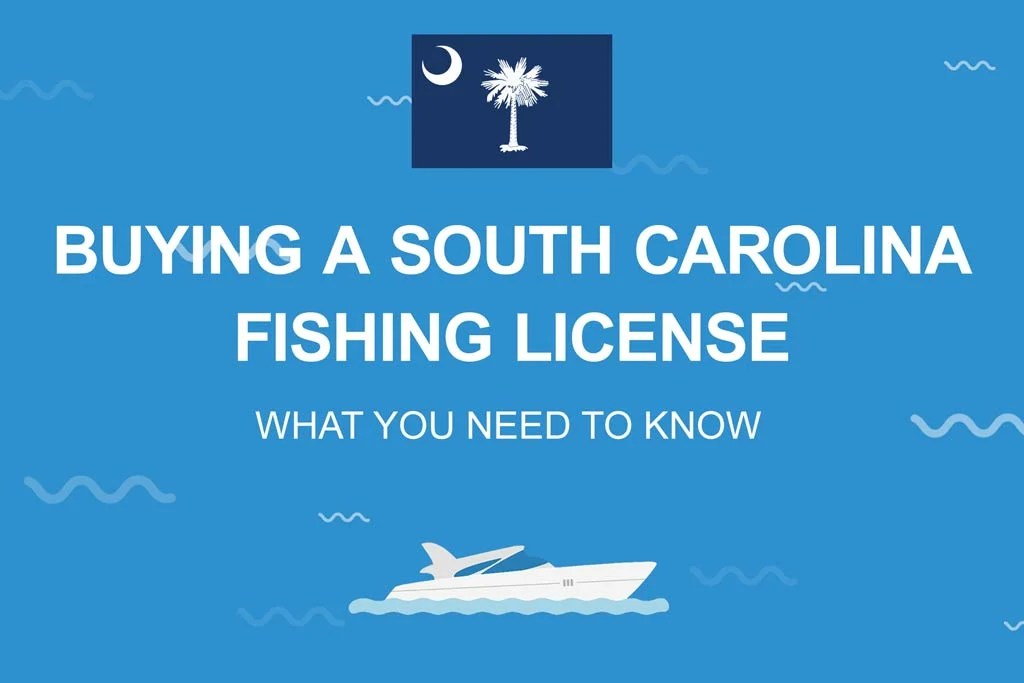 """An image that has a flag of South Carolina and the following text """"Buying a South Carolina Fishing License, What You Need to Know"""""""
