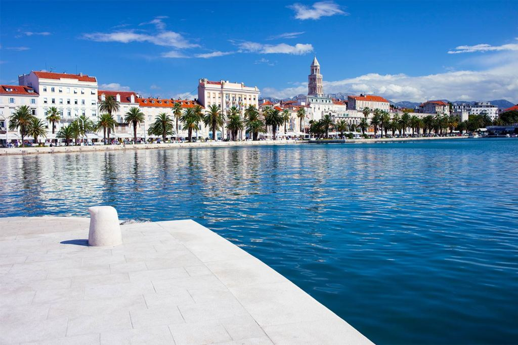 A view across the water to Diocletian's Palace in Split
