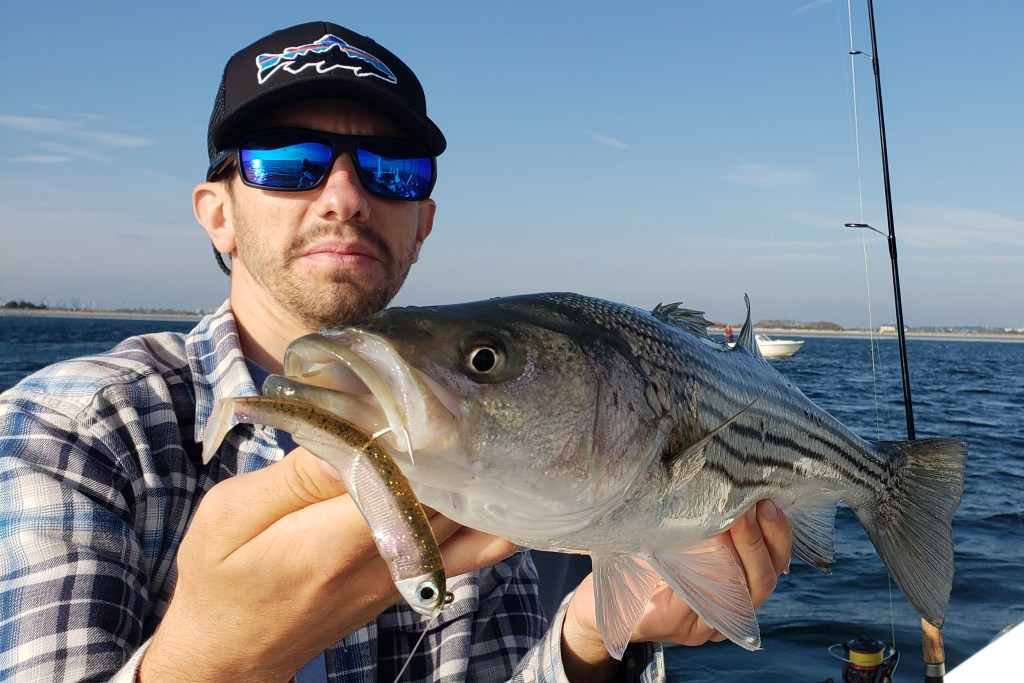 An angler on a boat wearing a black cap and blue sunglasses. The angler is holding a Striped Bass with a soft plastic lure hanging out of its mouth. Sea and sky are visible behind him.