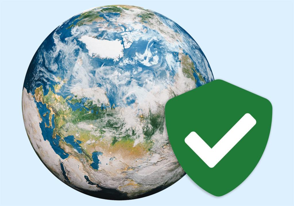 Globe with adjacent verification sign