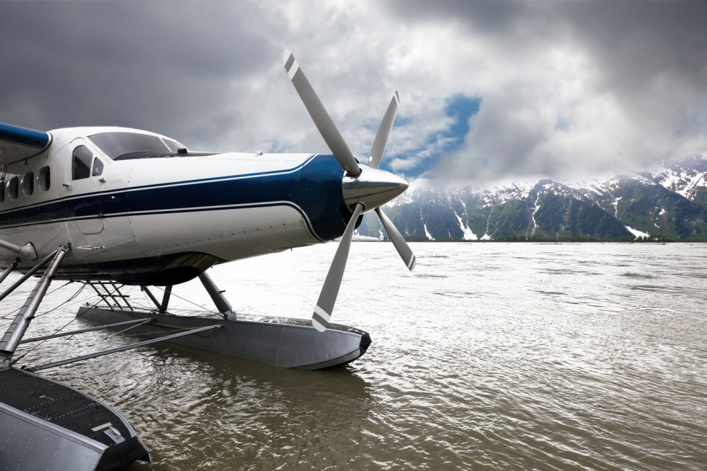floatplane on the water in alaska
