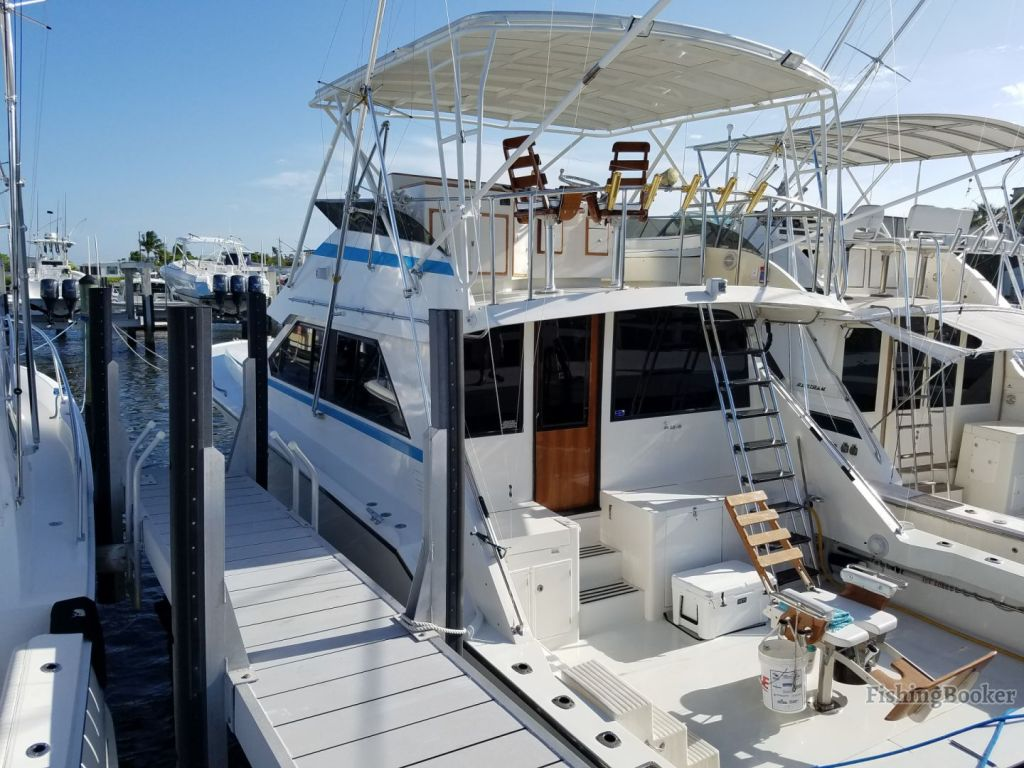 A boat docked in a marina in Florida, with a fighting chair and cooler in the cockpit.
