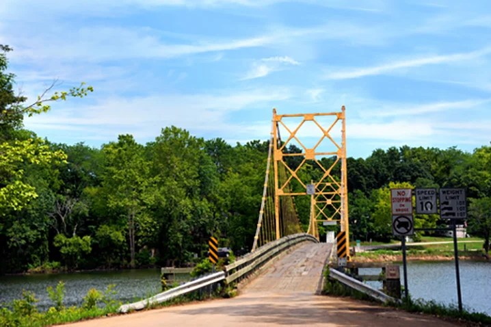 A yellow bridge over the White River outside of Eureka Springs, Arkansas