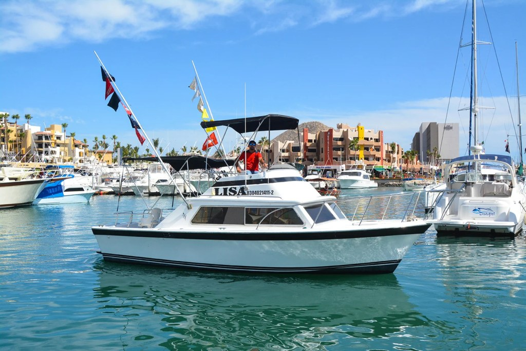 A charter fishing boat in the marina in Cabo San Lucas, Mexico, with the town and other boats in the background.