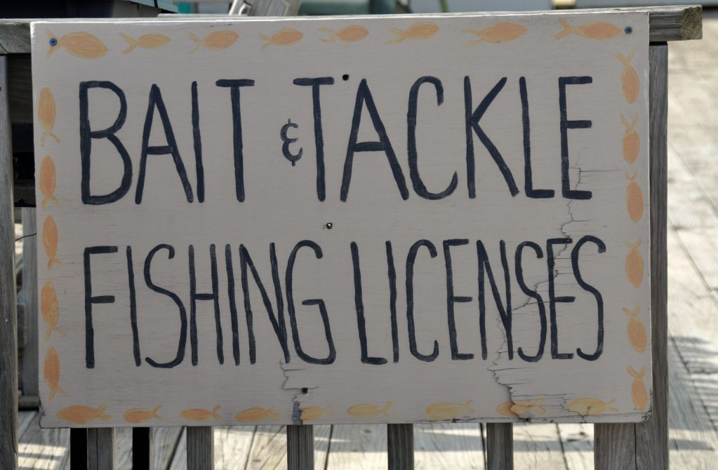 Fishing license sign