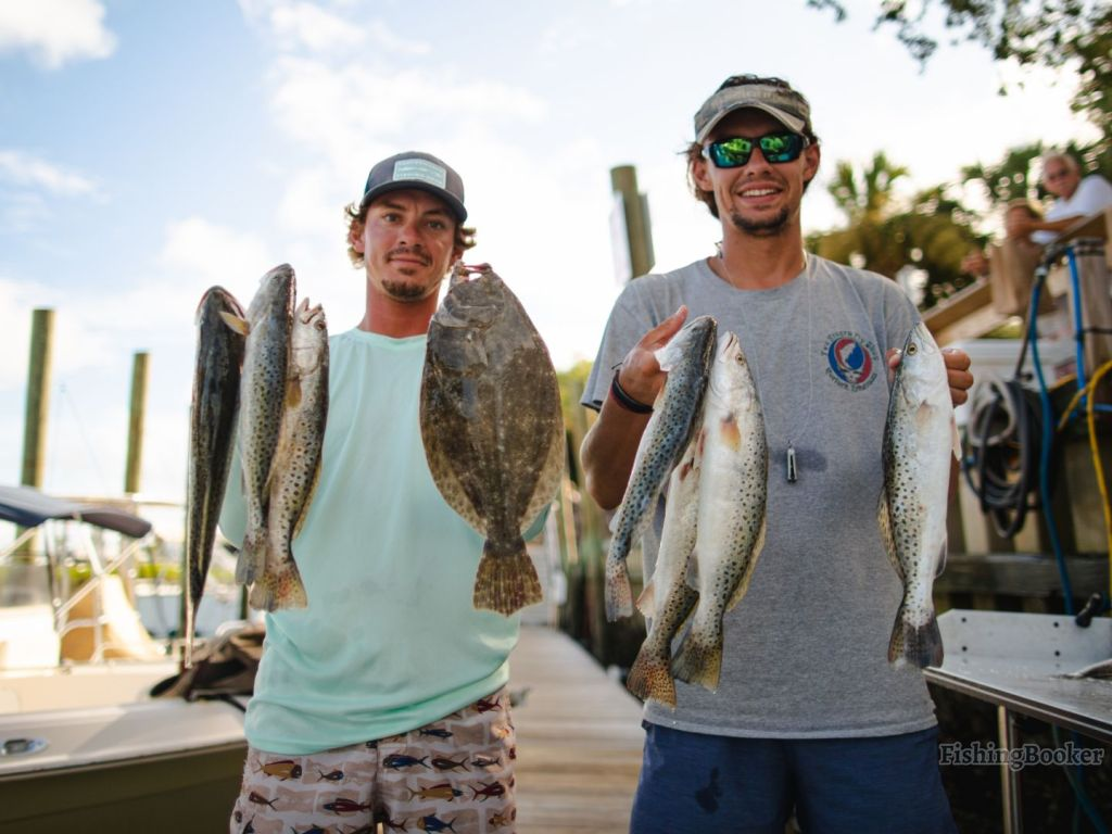 two anglers standing with fish they caught in myrtle beach