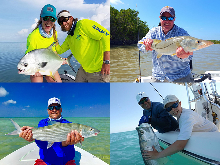 Islamorada inshore super grand slam: Four anglers, each holding a permit, snook, tarpon, and bonefish they caught while fishing in Islamorada.