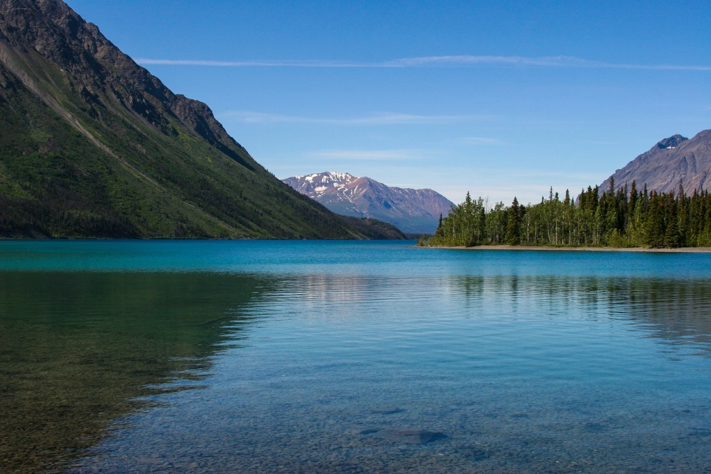 Kathleen Lake in Kluane National Park and Reserve, the perfect stop on a Alaskan Highway fishing road trip