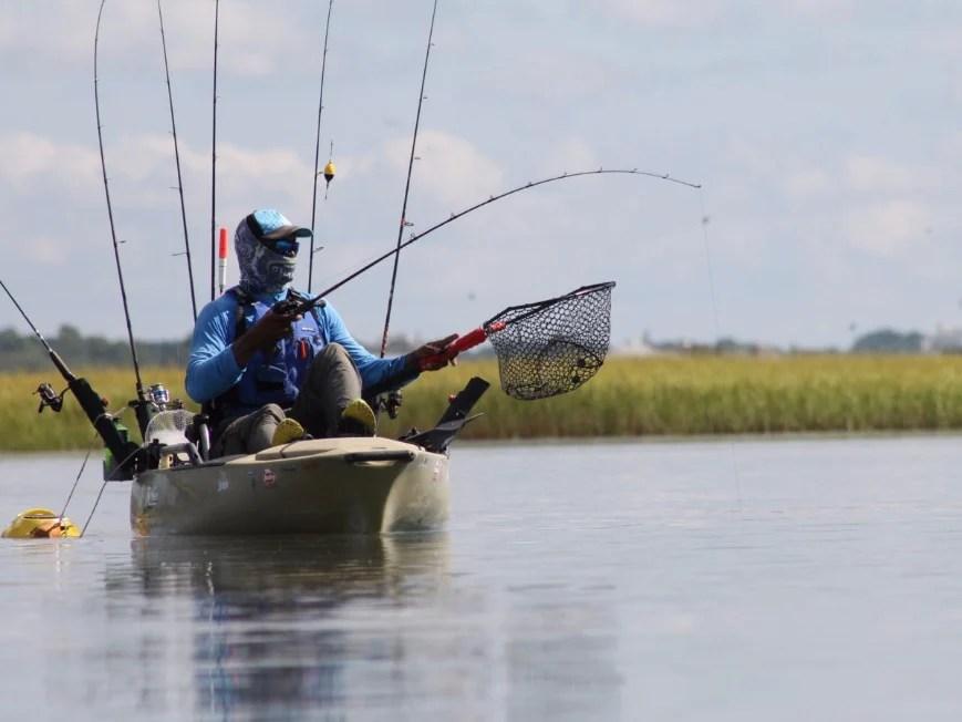 an angler fishing from a kayak