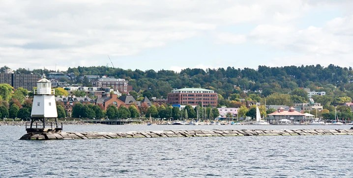 View of Burlington cityscape and Lake Champlain
