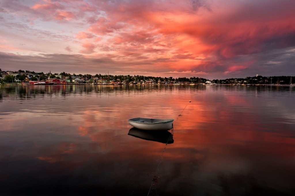 a sunset view of the Bay of Lunenburg
