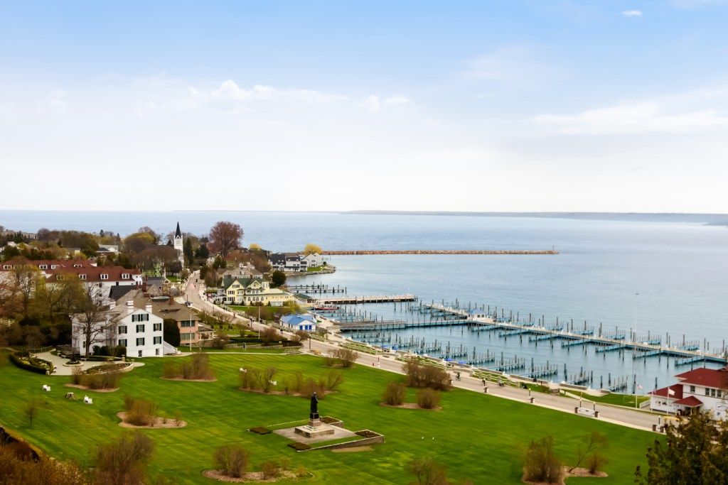 a view of the harbor on Mackinac Island
