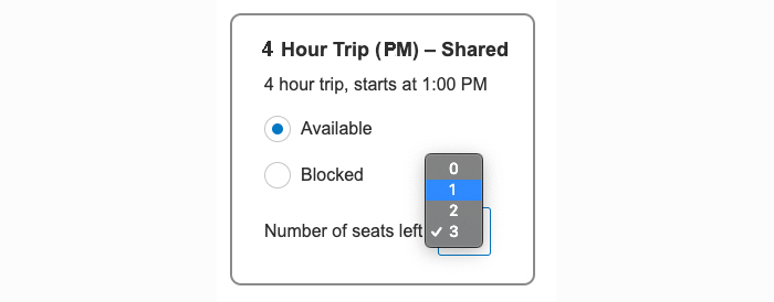 screenshot showing how to select free spaces on a shared trip