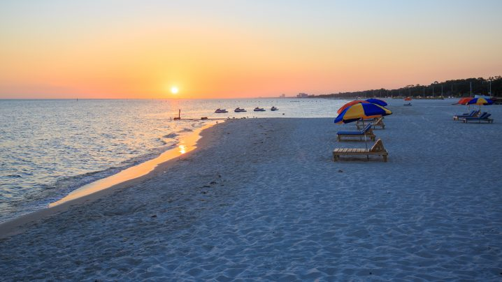 A Beach in Biloxi, Mississippi at sunset