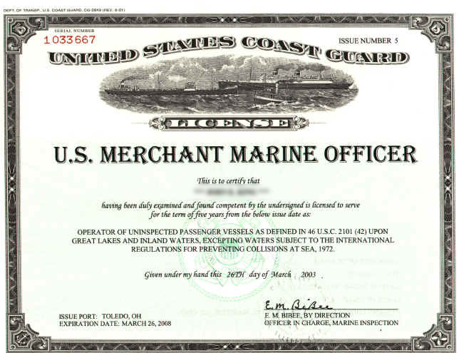 A USCG Merchant Marine Officer's license. Finding a properly-licensed captain is one of the most important things to consider when figuring out how to choose a fishing charter.