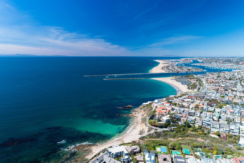 An aerial view of Newport Beach, a coastal city on the Pacific Ocean.