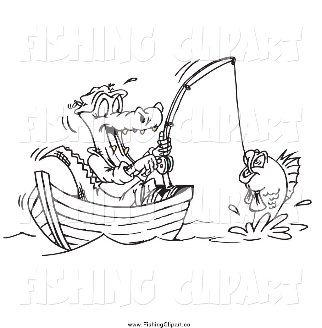 Clip Art Of A Black And White Crocodile Fishing From A
