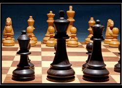 Chess pieces on board.