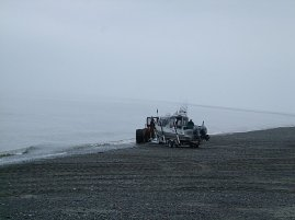 Launching the boat on the beach #2.